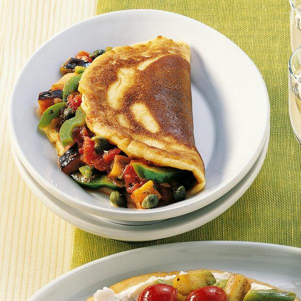 pancakes mit auberginen paprika gem se rezept k cheng tter. Black Bedroom Furniture Sets. Home Design Ideas