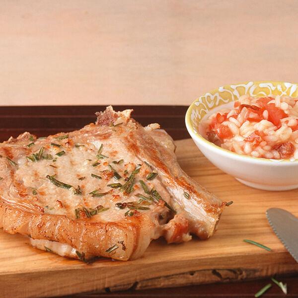 kalbskoteletts mit tomaten risotto rezept k cheng tter. Black Bedroom Furniture Sets. Home Design Ideas