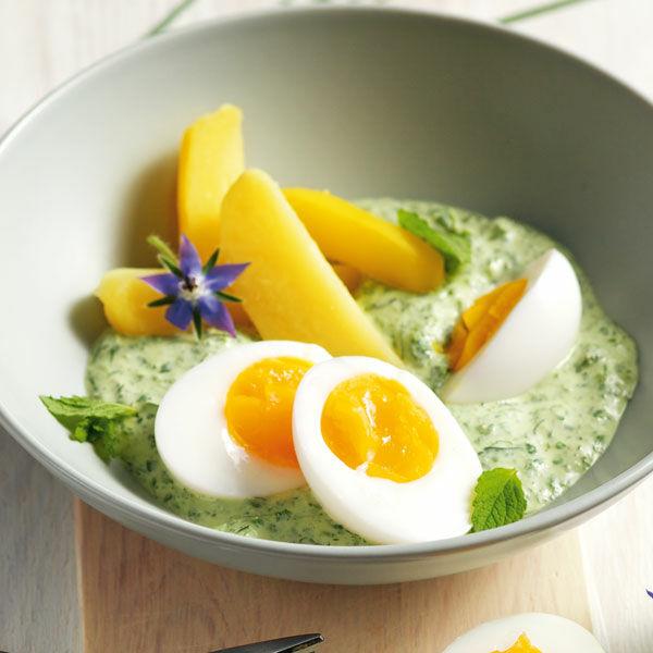 Eier mit gr ner sauce rezept k cheng tter - Eier kochen dauer ...