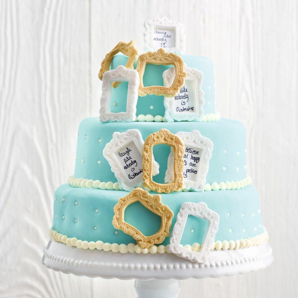 3 stöckige Bilderrahmen Torte mit Buttercreme | Küchengötter