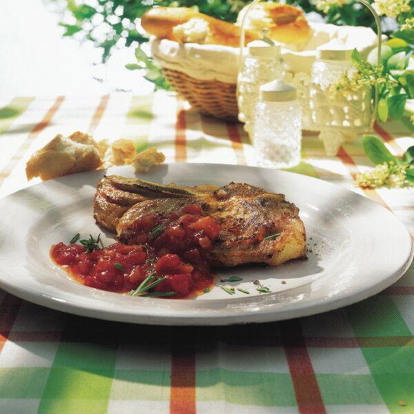 kalbskoteletts mit tomaten aprikosen chutney rezept k cheng tter. Black Bedroom Furniture Sets. Home Design Ideas