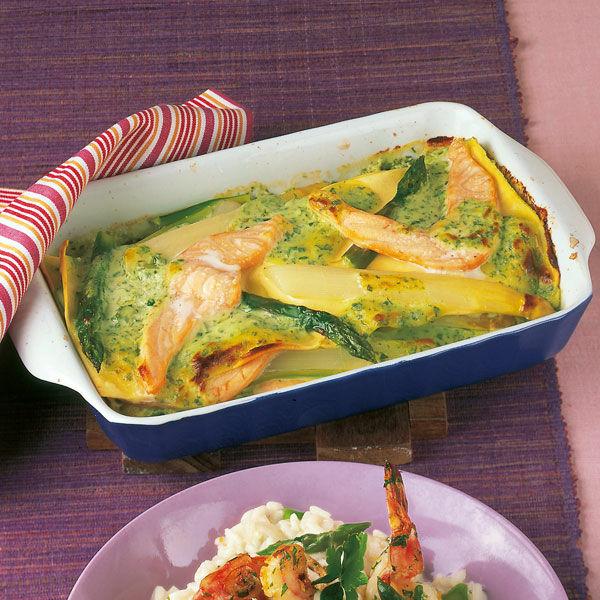 Spargel Lachs Lasagne Rezept Küchengötter