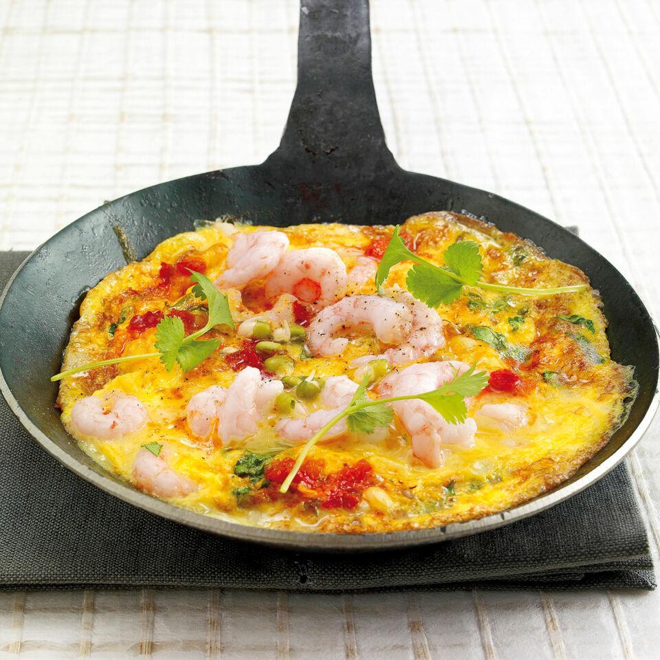 scharfes garnelen omelette rezept raclette k cheng tter. Black Bedroom Furniture Sets. Home Design Ideas