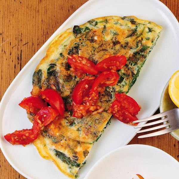 spinat feta omelett mit tomaten salsa rezept k cheng tter. Black Bedroom Furniture Sets. Home Design Ideas