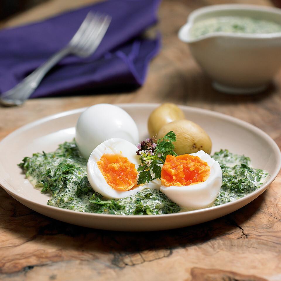 Eier mit gr ner sauce und neuen kartoffeln rezept - Eier kochen dauer ...