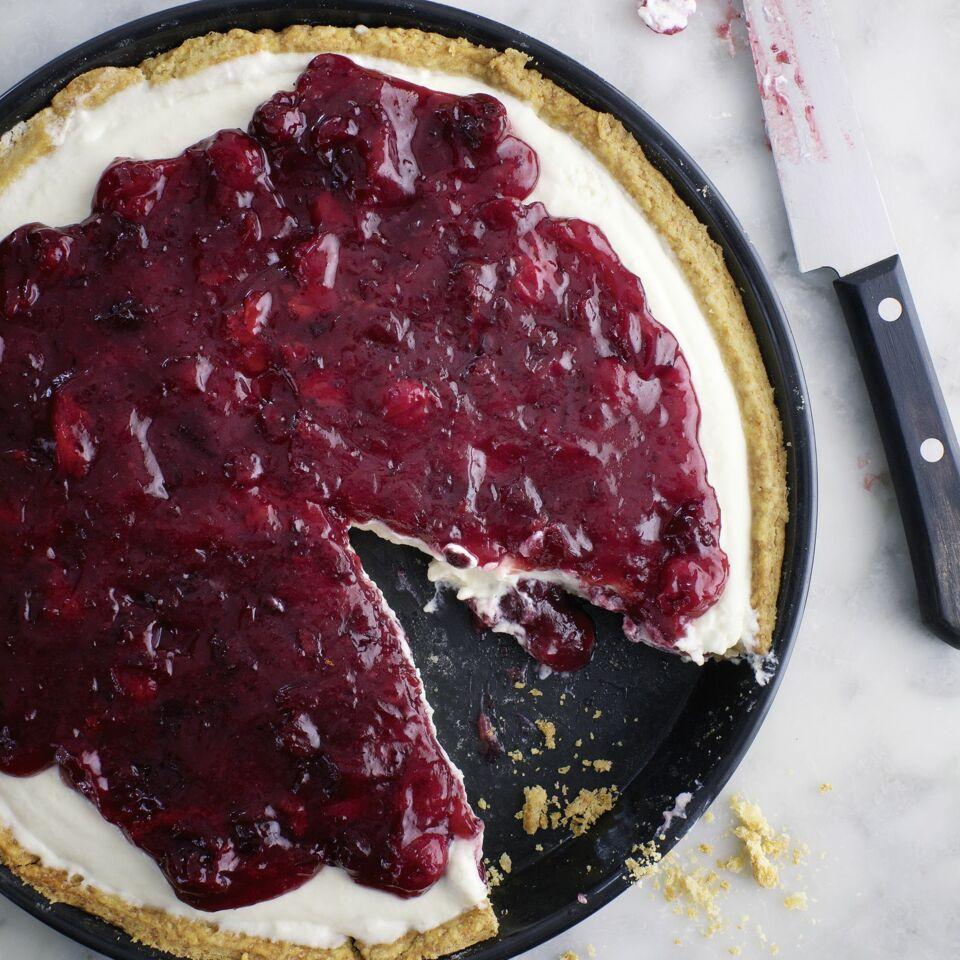 Dinkel Tarte Mit Joghurt Mousse Und Cranberrykompott Rezept