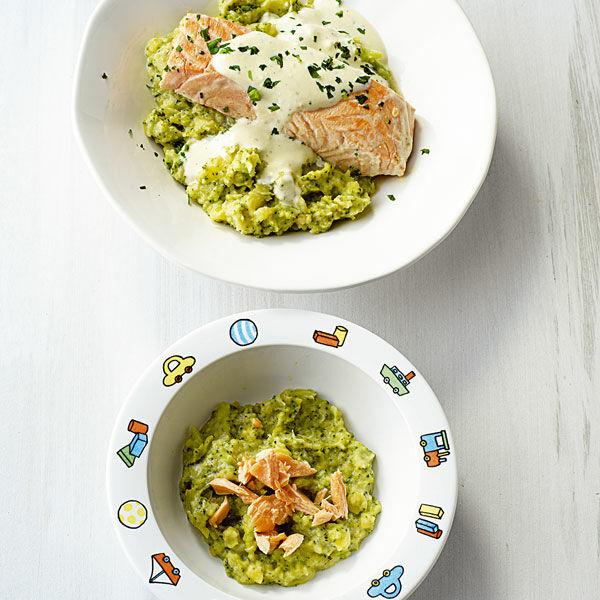 Brokkoli-Kartoffel-Püree mit Fisch