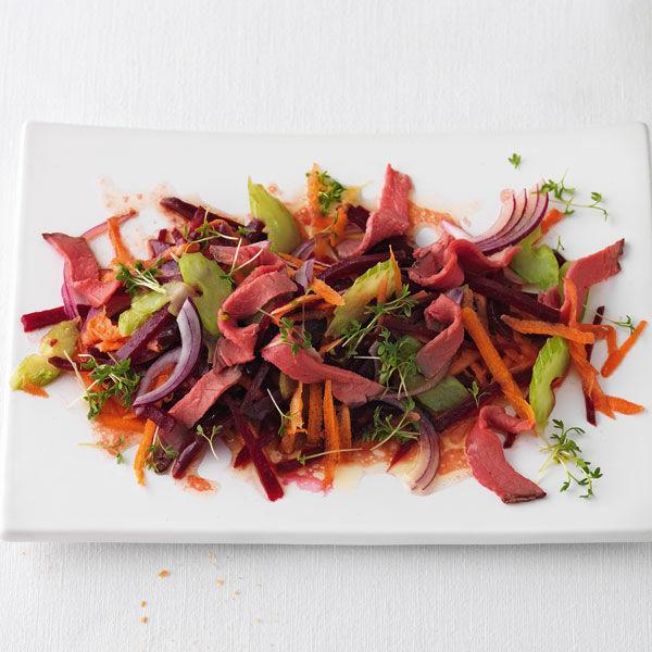 rote bete salat mit roastbeef rezept k cheng tter. Black Bedroom Furniture Sets. Home Design Ideas