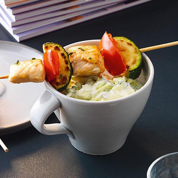 h hnchen gem se spie e mit zucchini tsatsiki rezept k cheng tter. Black Bedroom Furniture Sets. Home Design Ideas