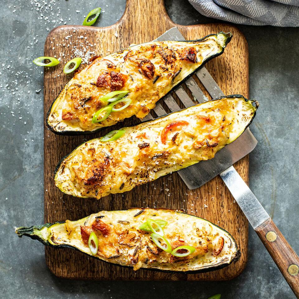 Vegetarisch Gefüllte Zucchini Aus Dem Ofen Rezept Küchengötter