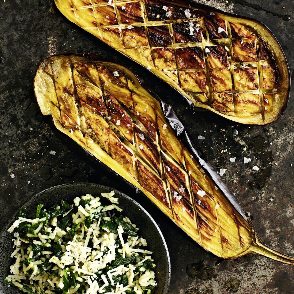 Gebackene Aubergine Mit Spinatreis Rezept Küchengötter